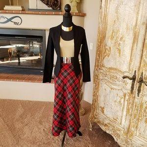 Red, Black, Tan  Plaid Maxi Skirt Size 16